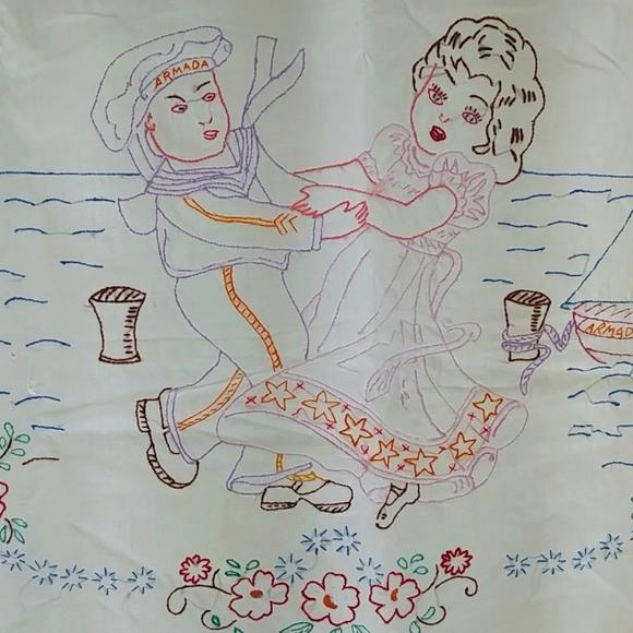 4/$15 - vintage embroidered textile